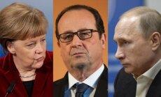 Angela Merkel, Francois Hollande'as, Vladimiras Putinas