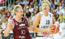 Lithuania's Mindaugas Kuzminskas during Lithuania Latvia basketball game