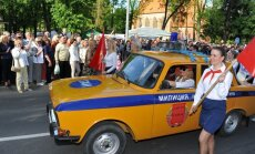 Druskininkų kurorto šventės paradas neapsiėjo be pionierių ir raudonų vėliavų (R. Sadausko-Kvietkevičiaus nuotr.)