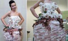 Modesto Vasiliausko kurta suknelė iš mėsos produktų