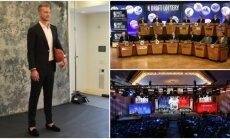 Domantas Sabonis NBA naujokų biržos loterijoje (Twitter, Reuters ir AP nuotr.)