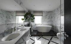 Moderni klasikos interpretacija vonios kambaryje