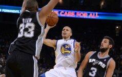 """NBA: be trijų lyderių žaidę """"Spurs"""" netikėtai patiesė """"Warriors"""" ekipą"""