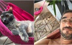 Šeimininkas katei parūpino mažytį hamaką: dviese tinginiauti smagiau