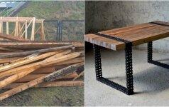 Darau pats: stalas iš senų lentų ir senos grandinės