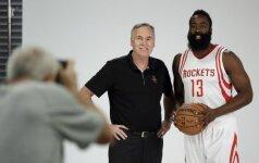 """M. D'Antoni patvirtino – pagrindiniu """"Rockets"""" įžaidėju bus J. Hardenas"""