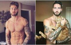 Kartu su katinu raumenis auginantis modelis neatsigina moterų dėmesio