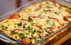 Bulvių, cukinijų ir pomidorų užkepėlė kepa 30 min.