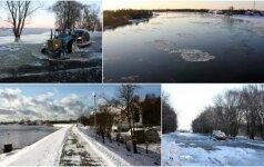 Žiema išpuošė pamarį: štai taip atrodo prasidėjęs potvynis