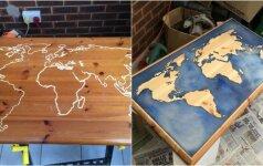 Darau pats: kaip senas stalas pavirto tamsoje šviečiančiu stalu-žemėlapiu