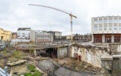 """Nugriauto prekybos centro """"Merkurijus"""" vietoje - statybos darbai"""