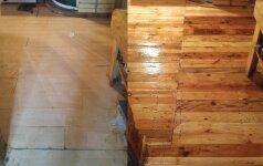 PRIEŠ ir PO: grindų ir sienų iš lentelių įrengimas