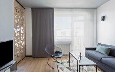 44 kv.m butas Vilniuje: geometrinių formų kuriamas lengvumas