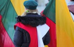 Polish national colours and the Lithuanian flags