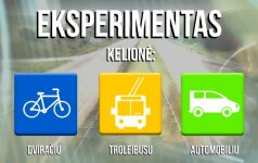 Trijų merginų eksperimentas: kelionė dviračiu, troleibusu ir automobiliu