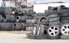 Lietuviai surinktas padangas paverčia cementu ir futbolo aikštėmis