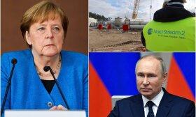 Koliažas: A. Merkel, vamzdyno statybos, V. Putinas