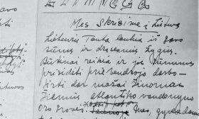 """Garsiojo """"testamento"""" pirmtakas: S. Dariaus rašytas skrydžio manifesto juodraštis; """"Lithvega"""" – pirminis lėktuvo pavadinimas; Čikaga, 1932 / BLKM nuotr."""