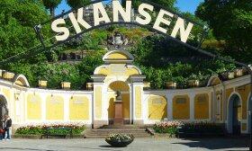 Vienas iš įėjimų į Skanseną. Jame pastatytas  muziejaus po atviru dangumi įkūrėjo Artūro Hazelijaus (Artur Hazelius) biustas