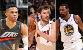 NBA naktis: Durantą praradę čempionai, Westbrooko trigubas dublis ir Dragičiaus pergalingas metimas
