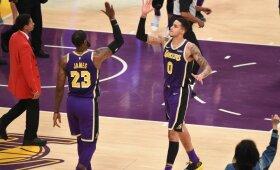 """Įspūdingą """"Timberwolves"""" tritaškių lietų atlaikę """"Lakers"""" įsirašė penktąją pergalę"""