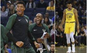 """""""Bucks"""" šiurkščiai nutraukė """"Warriors"""" pergalių seriją, traumą patyrė vienas iš NBA čempionų lyderių"""