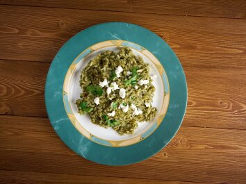 Ryžiai su špinatais graikiškai