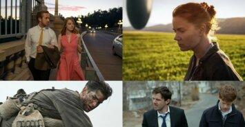 """Kadrai iš filmų """"Kalifornijos svajos"""", """"Atvykimas"""", """"Pjūklo ketera"""" ir """"Mančesteris prie jūros"""""""