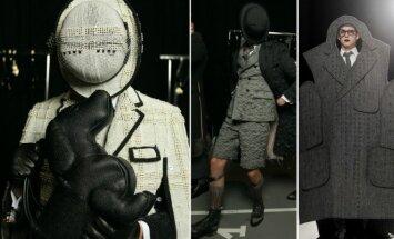 Vyriškoje kolekcijoje susipynė 50 pilkų atspalvių: dizaineris siūlo juodą lūpdažį ir šuniuko formos rankines