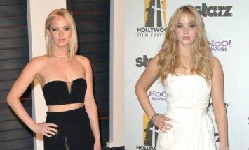 Jennifer Lawrence dabar ir prieš šešerius metus (dešinėje)