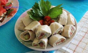 Savaitgalio pasilepinimui: tortilijų suktinukai su lašiša