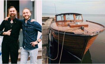 Linas Starkus su Domu Burkausku ir medinis motorlaivis