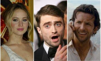 Jennifer Lawrence, Danielis Radcliffe'as, Bradley Cooperis