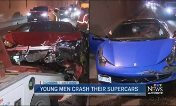 Avarijoje sudaužyti Lamborghini Hurracan ir Ferrari 458 Italia