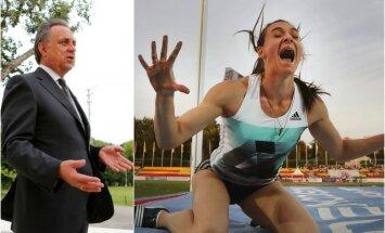 Vitalijus Mutko ir viena Rusijos lengvosios atletikos rinktinės lyderių Jelena Isinbajeva (Reuters ir AFP nuotr.)