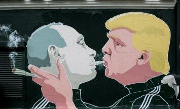 Vladimiras Putinas ir Donaldas Trumpas (M.Bonanu ir D.Čečkausko piešinys)