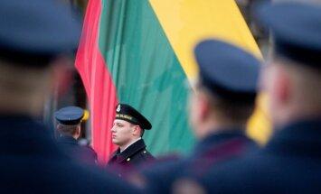 Raising Lithuanian flag