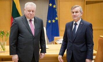 Russian Federation Ambassador Alexander Udaltsov in the Seimas with the Speaker Viktoras Pranckietis