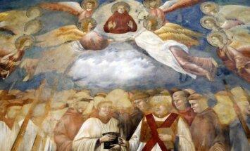 Švento Pranciškaus Asyžiečio atvaizdas Giotto freskoje šv. Pranciškaus Asyžiečio katedroje bazilikoje Italijoje.