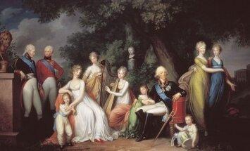 """Rusijos imperatoriaus Pavlo I ir Marijos Fiodorovnos šeima.1800. Kūrinio saugotojas - Rusijos valstybinis muziejus """"Pavlovskas"""". Pav. Gerhard von Kiugelgen."""