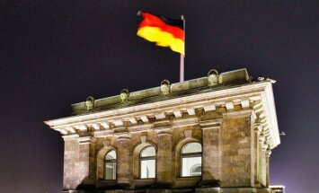 German flag on the Bundestag roof