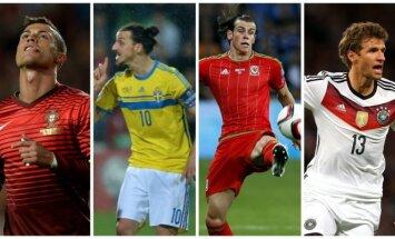 Cristiano Ronaldo, Zlatanas Ibrahimovičius, Garethas Bale'as ir Thomasas Mulleris (AP-Scanpix nuotr.)