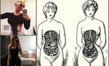 Internete plintanti nuotrauka, kuri parodo, kas moters kūne įvyksta nešiojant korsetą
