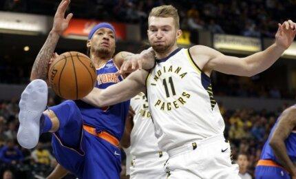 """Po krepšiais šeimininkavęs Sabonis prie """"Knicks"""" sutriuškinimo prisidėjo dvigubu dubliu"""
