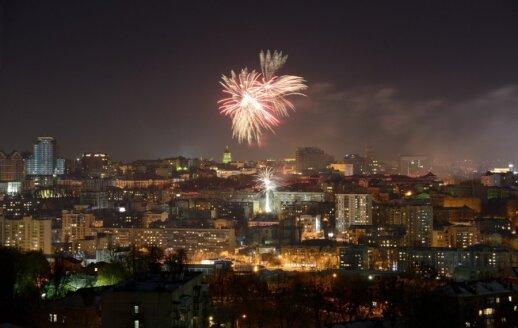 Naujųjų metu fejerverkai virš Kijevo