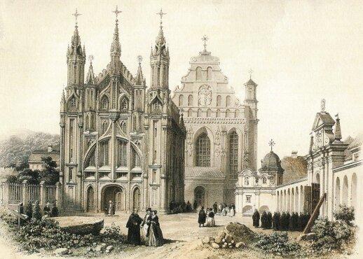 """1850 m. chromolitografijoje iš J. K. Vilčinskio """"Vilniaus albumo"""" matyti bernardinių veinuolyno ansamblio tvora ir vartai"""