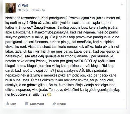 Vitalijaus Vaitkevičiaus Facebook įrašas