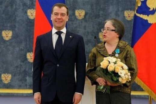 One of the members of Centre for Research and Defense of Fundamental Rights, teacher Ela Kanaite, received the award from Russian president Dmitry Medvedev in 2012. PHOTO State Security Department