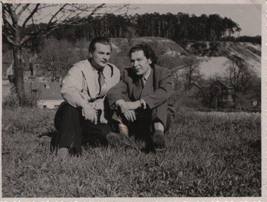K. Kubilinskas su E. Mieželaičiu