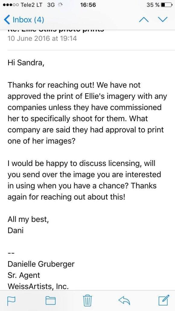 Įmonės, su kuria bendradarbiauja E. Stills, atstovės komentaras
